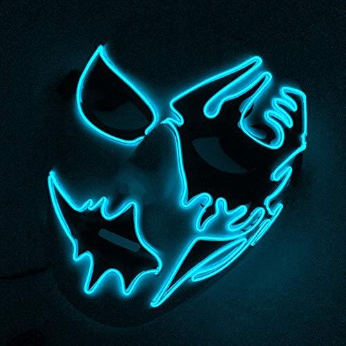 Renendi Halloween-Requisiten erschreckende LED EL Draht Licht Maske Maskenade Cosplay Festival Kostüm Zubehör Party Supplies (Erschreckende Kostüm)