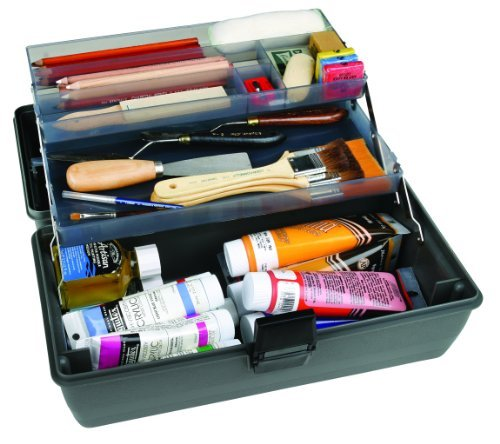 ArtBin Upscale 2-Tray Tool Box with Metal Links- Slate Gray Art Supply Container, 8399 by ArtBin -
