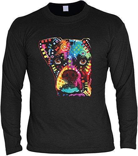 Herren Langarmshirt mit Motiv: Boxer Cubism - Hundemotiv - Geschenk - Pullover, Pulli - Farbe: schwarz Schwarz