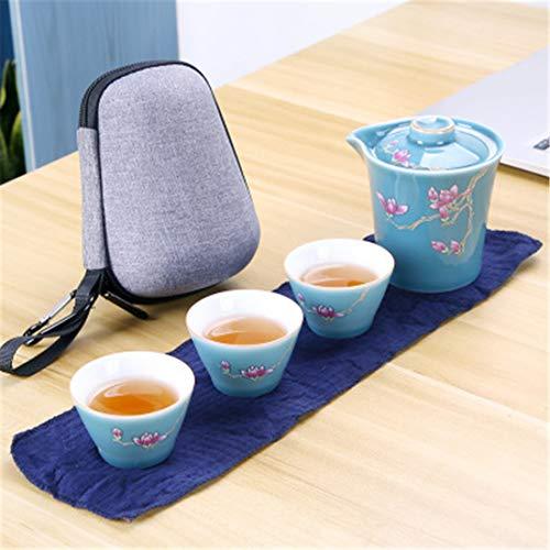 qwdf Chinesisch Keramik-Reiseteeset Anzug Handgreifender Topf EIN Topf und DREI Tassen Tragbar Schnelle Tasse (Chinesische Keramik-topf)