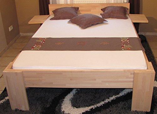 erhöhtes Doppelbett 180x200cm – Ehebett Buche mit Einhängetischen – Senioren-Doppelbett – (2993)