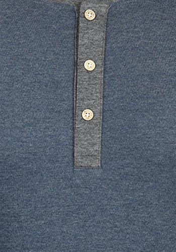 Indicode Winston Herren Longsleeve mit Grandad- Ausschnitt Aus Hochwertiger Baumwollmischung in Melange-Optik Navy Mix 420