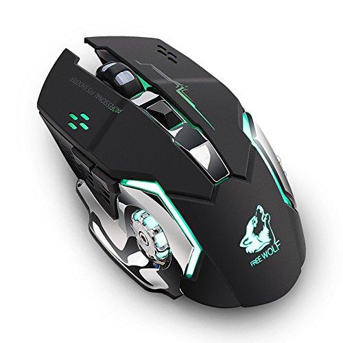 Waroomss Professionelle Wireless Gaming Mouse Wiederaufladbare X8 Wireless Silent LED Hintergrundbeleuchtung USB Optische Ergonomische Gaming-Maus Für PC Laptop (Schwarz)