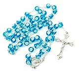 streitstones - Rosenkranz filigran, groß mit Lampen-Perlen in blau - Restposten