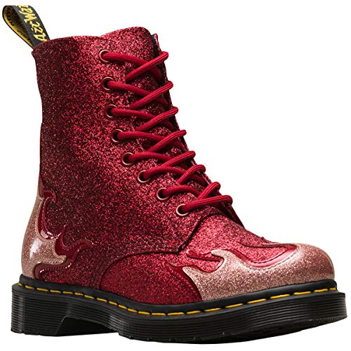 Dr.Martens Damen 1460 Pascal Flame Coated Glitter Synthetic Pink Red Stiefel 40 EU