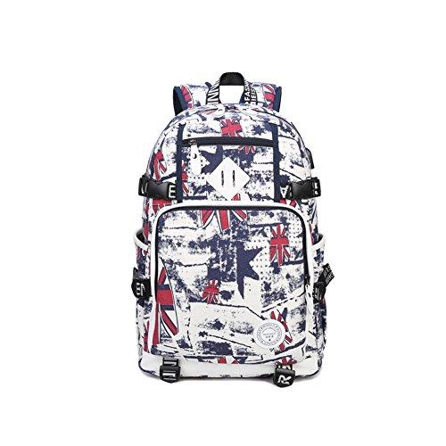Q.KIM Portables Sac à dos Entreprise Collège Poids Léger Voyages Toile en coton Graffiti Sac à dos avec port de chargement USB,Rouge