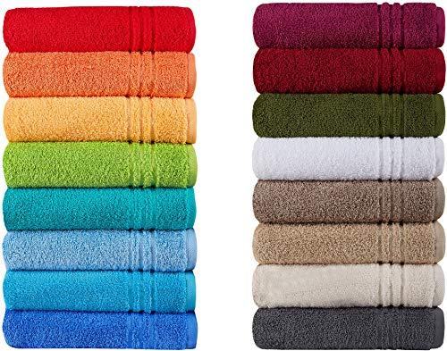 gaestetuecher Naturawalk Handtücher Serie Milano Bio-Baumwolle in Luxusqualität, in 7 Größen und 16 Trendfarben - Grösse 6 x Gästetücher, Farbe Grün 060