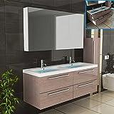 Badezimmer Möbel / Waschbecken / Doppelwaschtisch / Badmöbel / Unterschrank / Waschplatzlösung / Modell Garda-1440 / Farbe: Braun / Waschtisch