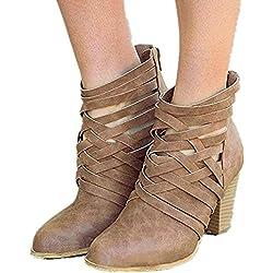 Botines Mujer Tacon Alto, Cuero Botas 7 Cm Otoño Zapatos De Botas Comodos Fiesta Marrón 40