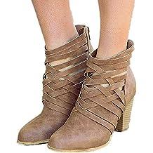 Botines Alto Comodos Zapatos Botas Botas Tacon Cm Cuero Otoño De 7 Marrón Mujer Fiesta 4BrP4