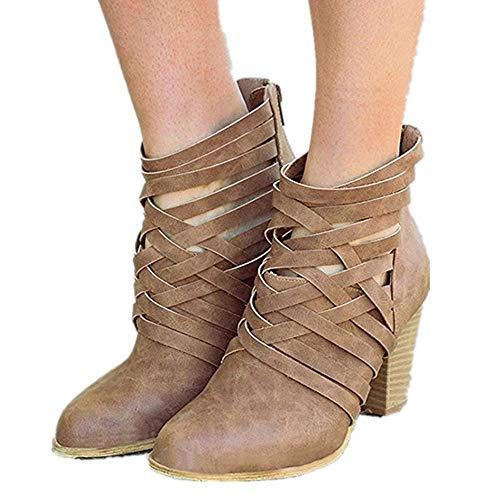 1fe7fea4fae Botines Mujer Tacon Alto, Cuero Botas 7 Cm Otoño Zapatos De Botas Comodos  Fiesta Marrón