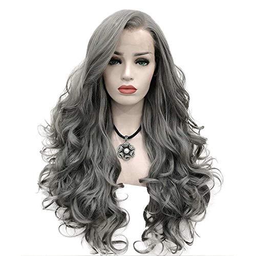 Vorne Lockige Perücken Dunkle Wurzeln Synthetische Silberne Graue Kurze Gewellte Synthetische Spitze Lockige Gewellte Allmähliche Änderung Haar Cospaly Party Haarperücke Für Frauen ()