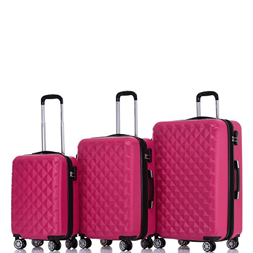 BEIBYE Zwillingsrollen 2066 Hartschale Trolley Koffer Reisekoffer Gepäck M-L-XL-Set (Peach, Set)