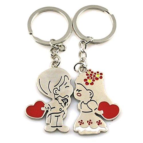 Winomo 2pcs coppia portachiavi gioielli anello per gli amanti di san valentino portachiavi