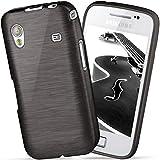 moex Samsung Galaxy Ace | Hülle Silikon Schwarz Brushed Back-Cover TPU Schutzhülle Ultra-Slim Handyhülle für Samsung Galaxy Ace Case Dünn Silikonhülle Rückseite Tasche