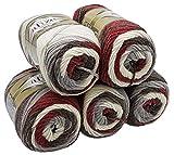 Alize superlana midi 5 x 100 Gramm Wolle mit Farbverlauf, 500 Gramm Strickwolle Batik 75% Acryl 25% Wolle (Bordeaux grau weiß 7049)
