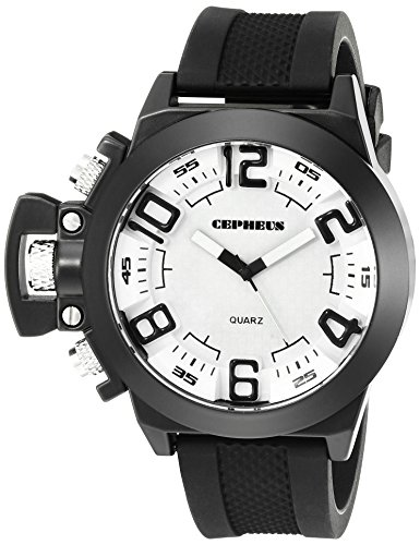 Cepheus Men's Quartz Watch with White Dial Analogue Display and Black Silicone Strap CP901-682
