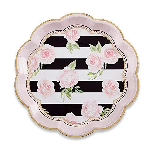 Kate Aspen 28436NA Floral Striped 9 (Set of 8) Paper Plates 0 gold, black, white, pink, green Pink Floral Gold Trim