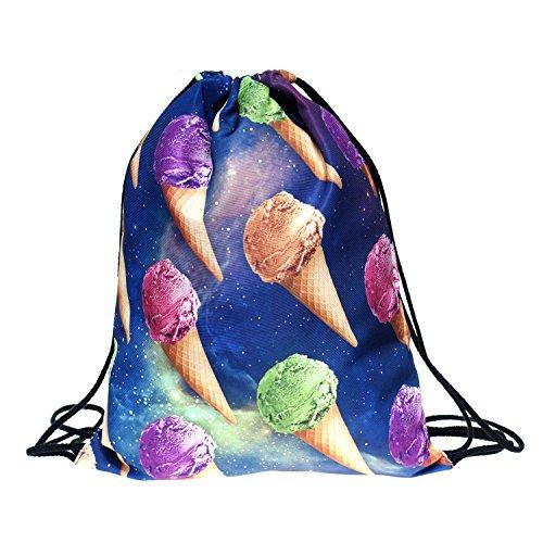 Da donna da uomo Unisex spalla da ragazzo da bambina Full stampa borsa scuola borsa corda per viaggi e zaino SPACE ICE CREAM