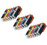 Prestige Cartridge PGI-570XL CLI-571XL Cartucce d'Inchiostro compatibile con Stampanti Canon Pixma MG7750/MG7751/MG7752/MG7753, 18 Pezzi, Multicolore