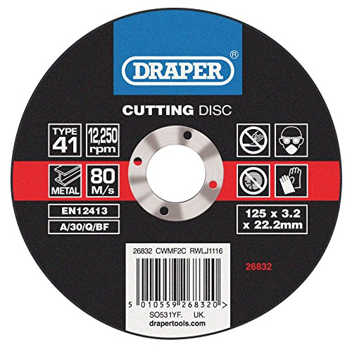 Draper 26832 Disques plats de coupe Métal (115 x 3,2 x 22,2 mm)