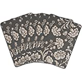 Saral Home Cotton Decorative Flower Design Place Mat Set Of 6 Pices -34x45 Cm, Grey
