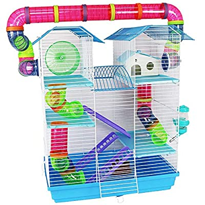 Pet Ting Jasmine Hamster Cage Large with Running Tubes Gerbil Syrian Dwarf Hamsters Mice by Pet Ting