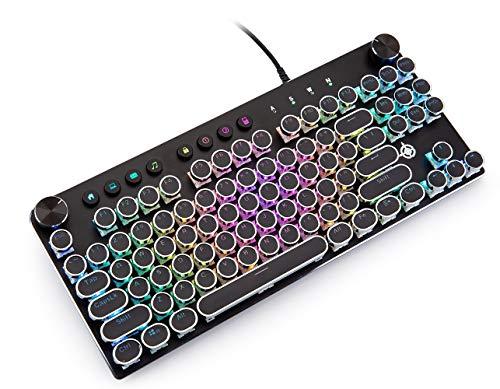 Mechanische Gaming-Tastatur, GEEKLIN Backlit 87 Tasten Mechanische Computer-Tastatur mit USB, kabelgebundene Tastatur für Windows PC – Gamer – Schwarz