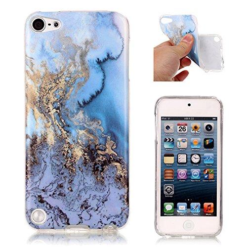 iPod Touch 5G Slim Schutzhülle, Aeeque Einfach Marmor Textur Design Handyhüllen Soft Klar Durchsichtig Rahmen Silikon Kratzfeste Flexibel Backcover Zurück Hülle Tasche für iPod Touch 5G/6G - Blau Meer (Ipod 5 Blau Silikon Fällen)