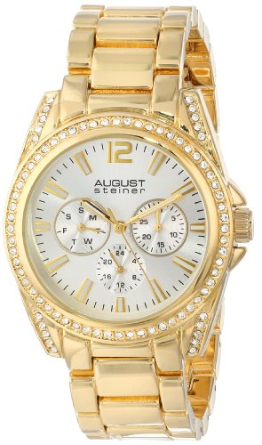 August Steiner Women's AS8075YG Crystal Accented Quartz Multifunction Gold-tone Bracelet Watch