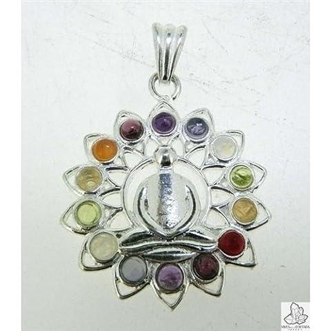 Colgante Flor de la Vida - Buda con minerales Chakras (Baño de Plata)