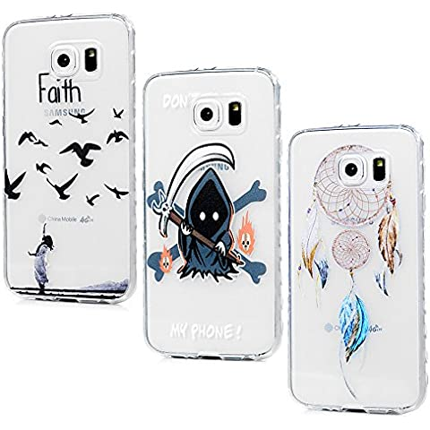 Funda Galaxy S6, Lanveni 3 pcs Carcasa TPU Gel Silicona para Samsung Galaxy S6 (no para S6 Edge) Suave Flexible ultra delgado Protective Case Cover - Diseño Dreamcatcher + Asuka + Muerte