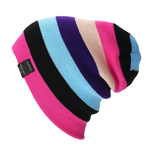 Lidahaotin Frauen Männer Mädchen Regenbogen Beaniekappen Streifen Hüte Herbst-Winter-Beanie Ski Caps Damen Skullies Hut Rosa Beanie Winter Ski Hut