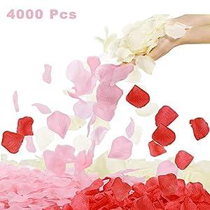 4000 pétalos de rosa artificiales de seda de colores surtidos, pétalos de rosa artificiales para noche romántica, decoración de bodas, eventos, fiestas 4000 piezas/tres colores.