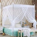 Bismarckbeer, zanzariera per letto matrimoniale a baldacchino, tenda per letto singolo, matrimoniale, queen size e king size, White, King
