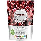 Reines Pulver aus gefriergetrockneten Cranberries in veganer Rohkostqualität, ideal für Shakes, Smoothies oder Joghurt, 120g Pulver entsprechen ca. 1Kg frischen Früchten (MHD 09-2019)