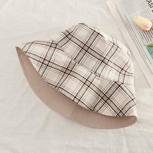 Sonnenhut doppelseitiger Netzfischerhut Sonnenschutzvisier Winddicht faltbar verstellbare Reisekappe (schwarz-weißes Plaid) QYLOZ (Farbe : E) -