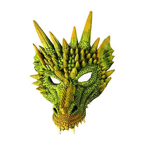 Tincocen Halloween Maske 3D Drachen Cosplay Kostüm für Herren Damen Karneval-Party Mardi Gras - Grün (Grüne Drachen Kostüm)