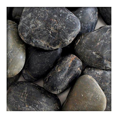 Glitter Stone Polierter Kiesel Glanzkies Flusskiesel Kieselsteine Ziersteine Gartenkies Zierkies Schwarz 50/80 mm 5 kg