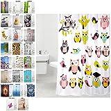 Duschvorhang, viele schöne Duschvorhänge zur Auswahl, hochwertige Qualität, inkl. 12 Ringe, wasserdicht, Anti-Schimmel-Effekt (Owl, 180 x 180 cm)