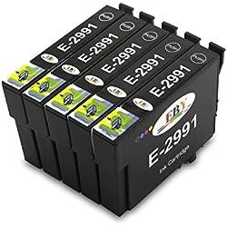 EBY 5 Negro Cartuchos de tinta de repuesto compatibles para Epson 29 xl expression home XP-332 XP-332 XP-347 XP-437 XP-435 XP-442 XP-345 XP-445 XP-235 XP-335 XP-435 XP-435 XP-432
