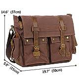 "Lifewit 15.6-17.3"" Laptop Messenger Shoulder Bag Men's Vintage Military Leather Canvas Briefcase Cross-body Bags (17.3 Coffee)"