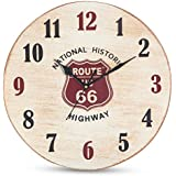 [Sponsored]GIFTWITHSWAGGER's Fine And Seek Wooden Wall Clock With Distress Finish And Route 66 Dial