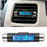 BEESCLOVER Nuovo Stile 1 Pezzo Blu retroilluminazione Auto termometro Orologio LCD Clip-on Digitale Luminoso Auto Orologio Calendario Facile Installazione Show
