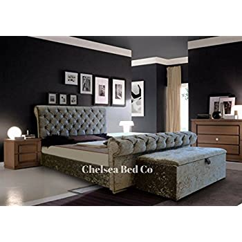 bed sleigh style crushed velvet diamante bed grey 4ft6 double