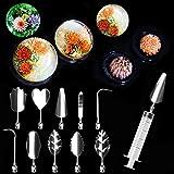 Espeedy 10 stücke 3D Gelatine Gelee Blume Art Tools Edelstahl Düse Spritze Kit Pudding Kuchen Dekorieren Tool (C81-90)