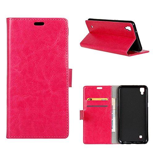 MOONCASE LG X Style Hülle, Ledertasche Brieftasche mit Standfunktion und Karte Halter Tasche Magnetisch Leder Schutzhülle für LG Tribute HD/X Style Rosa Rot