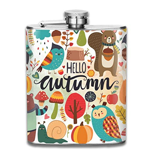 FGRYGF Pocket Container for Drinking Liquor, Cute Owl Autumn Harvest Fashion Portable Stainless...