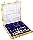 ShalinIndia Jeu d'échecs Unique - Pièces et échiquier en Pierres - Intérieur de la boîte en Mousse et en Satin - Fabriqué artisanalement au Rajasthan - Cadeau culturel de l'Inde
