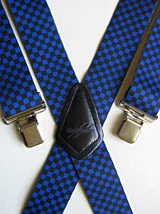MENS BRACES CHEQUERED FLAG BLUE / BLACK DESIGN from M.K.TOOLS